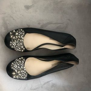 Vera Wang Lisa Black Leather Ballet Flat 37.5